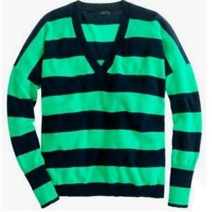 J Crew Striped Cashmere Boyfriend Sweater